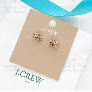 J.Crew Elephants Pave Crystal Studs Earrings